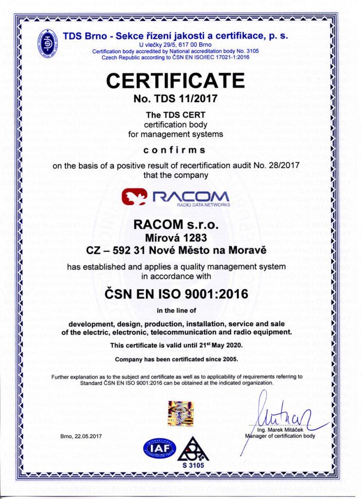 Iso 9001 Certificate Racom